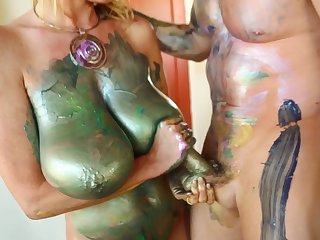 Kelly Madison is a chick covered roughly paint craving a stiff boner